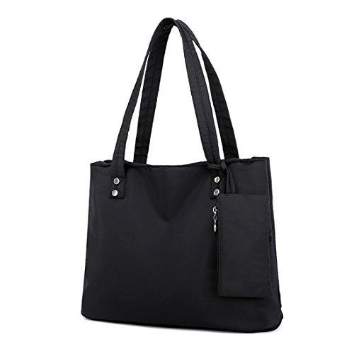 Leather Nylon Oxfords - Women Shoulder Tote Bags Waterproof Nylon Travel Tote Handbag Purse Bag (Black)