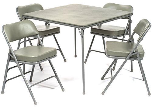 5pc. XL Series Folding Card Table and 2 in. Ultra Padded Chair Set, Commercial Quality, Grey (Table Card 38)