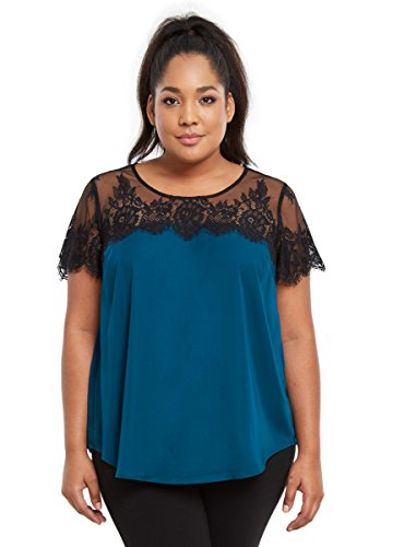 Lace Inset Satin Blouse