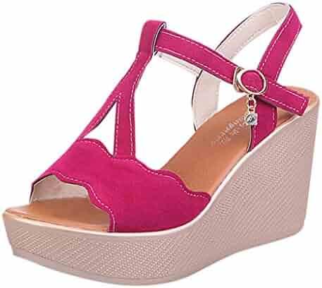 {Minikoad}Women Rome Sandals,Ladies Low Heel Sandals Zip Wedges Shoes
