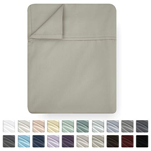 Sheet Modern Flat - California Design Den Queen Size Flat Sheet Only - 1 Pc Khaki Color 400 Thread Count Luxury Soft 100% Cotton Sateen Weave Bedding - Best Hotel Quality Cool Top Sheet for Bed, Lightweight, Breathable