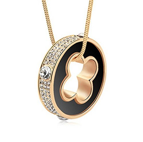 gold-plated-bling-cubic-zircons-classic-four-leaf-clove-black-pendant-necklacengg283-b