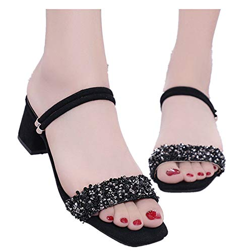 Women's Heeled Sandals Ankle Strap Buckle Open Toe Mid Heel Sandals Party Shoes (Black -2, US:8.0) ()
