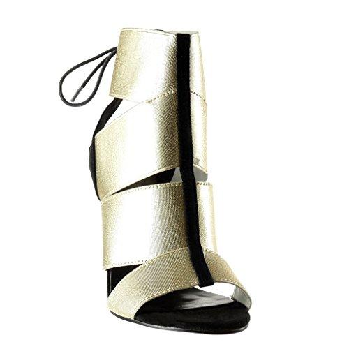 Angkorly - Zapatillas de Moda Sandalias Botines stiletto sexy mujer tanga multi-correa encaje Talón Tacón de aguja alto 12 CM - Oro