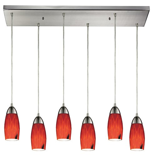 Milan 6 Light Pendant in Satin Nickel and Fire Red - Art Red Fire Milan