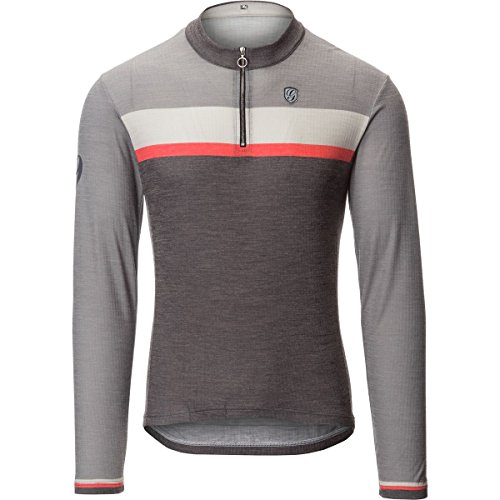 Giordana Sport Merino Wool Blend Long-Sleeve Jersey - Men's Grey / Black Red Accents, (Accent Wool Blend)