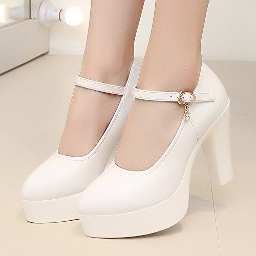 Tirante ragazza grande singolo scarpe 10cm asolato donna spesso tacco alti bianco tacchi modello con impermeabile alto alta 42 scarpe con wrFgqOw