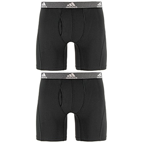 adidas Men's Relaxed Performance Climalite Boxer Brief Underwear (2 Pack), Black/Black, Large