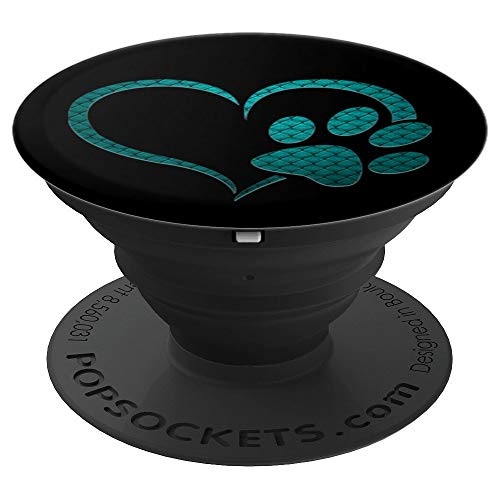Paw Print Collapsible - Teal Dog cat Paw Print heart black Pop socket lover gift - PopSockets Grip and Stand for Phones and Tablets