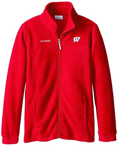 NCAA Wisconsin Badgers Youth Boys Collegiate Flanker Full Zip Fleece, Bright Red, Large ()