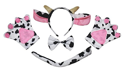 Tie Cow (Petitebella Headband Bowtie Tail Gloves Unisex Adult 4pc Costume (Milk Cow))