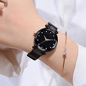TIMESOON Casual Designer Black Dial Magnet Watch – for Girls & Women