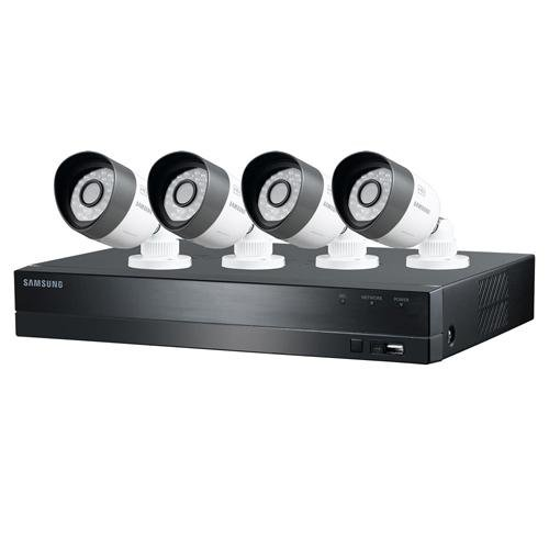 (Samsung Techwin 4 Channel HD Security System, 1TB HDD, 4 720P Weatherproof Bullet Cameras, 82' Night Vision)