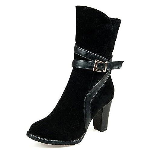 Women's Vintage Buckle Side Zip Up High Block Heels Faux Suede Ankle Boots Booties