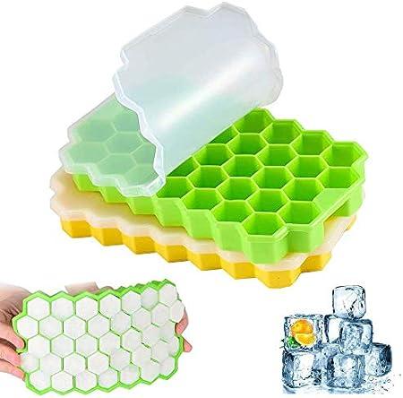 Bandejas para Hielo con Tapa 2pcs Moldes para Cubitos de Hielo Moldes para Hielo Silicona Moldes de Hielo Bandeja Hielo para Congelador Cola Cócteles Comida para Bebés Whisky (verde / amarillo)