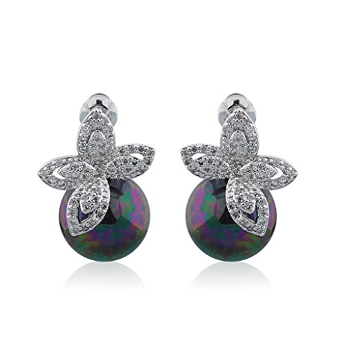 GULICX Simulated Tahitian Pearl CZ Clear Butterfly Pierced Earrings Silver Plated Base Jewelry Gift