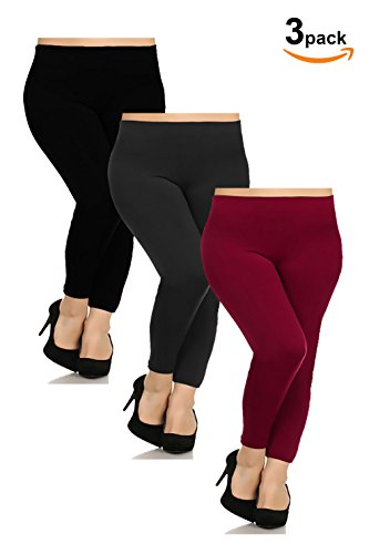 Basico Womens Plus Size 3-pack , 1- pack Seamless Fleece Lined Leggings (One Size , Wine / Charcoal / Black )