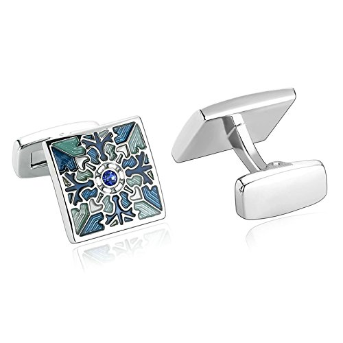 Mens Cufflinks Flower Square Cubic Zirconia Stainless Steel Cufflinks Blue Green Dad Unique Jewelry Box Fancy Elegant Aooaz