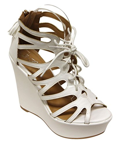Forever Succeed-13 Mujeres's Peep Toe Geometry Cut Out Lace Up Wedge Tassel Zip Closure Sandalias Blanco