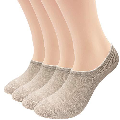 No Show Socks Flat Cushion Cotton Footies 4/8 Pack Sneakers Sports Low Cut Socks (Nude-4 Pack, US women's shoe 8-11 (9.5