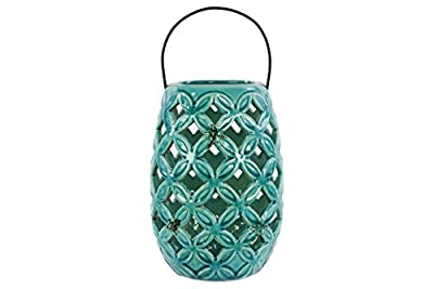 Urban Trends 13617 Ceramic Lantern with Metal Handle Gloss, Turquoise