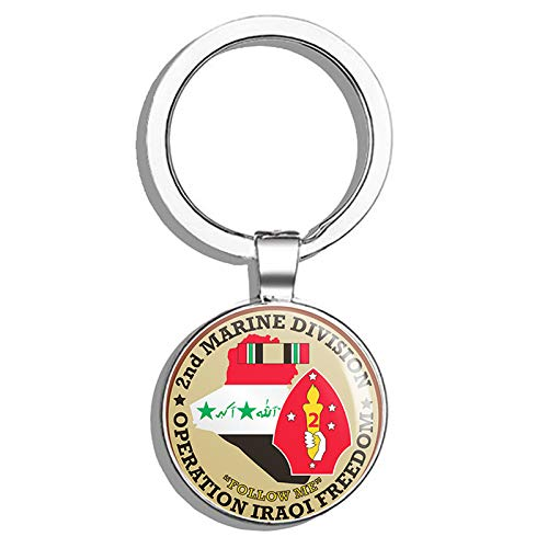 HJ Media US Army 2nd Marine Division Operation Iraqi Freedom Metal Round Metal Key Chain Keychain Ring