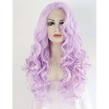 Peluca de pelo sintético con encaje frontal de Chu para mujer, de longitud media larga