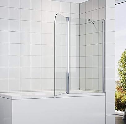 SONNI - Mampara de Bañera Plegable 140x120cm con Panel Doble de ...