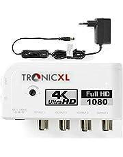 TronicXL Vier apparaten antenneversterker voor kabel / DVBT DVBT2 DVB-T DVBC DVB-C versterker Amplifier TV Cable DVB-T2 signaalversterking