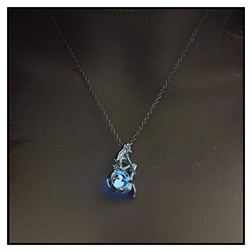 Jewelry with Glow in The Dark Necklace Silver Color Mermaid Pendant Locket Pendant Luminous Stone Neklace for Unisex 2