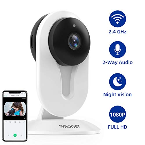 1080P Wireless Home Security Camera, SMONET Wi-Fi IP Security Camera, Smart Surveillance Camera with Night Vision, Office, Baby, Nanny, Pet Monitor, Two-Way Audio, Cloud Service Support