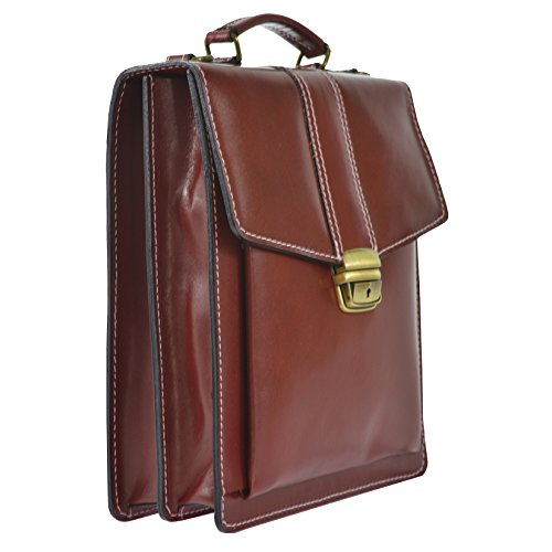 Italy Bag Made In 27x32x10 Briefcase Man's Business Leather Genuine Cm Ctm With D7012 Belt Red Shoulder pq5PAAwx