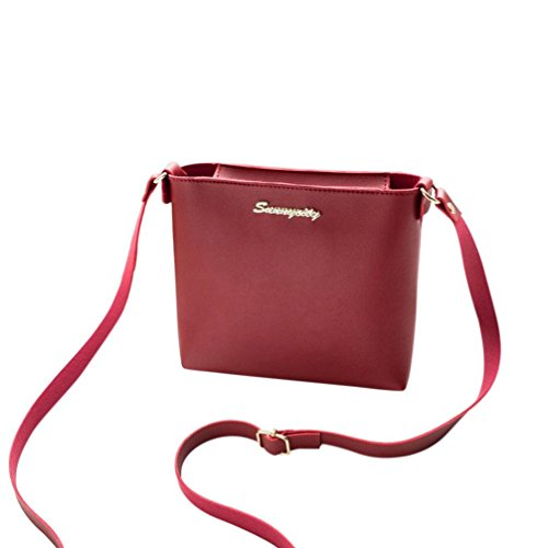 crossbody fashion bag Red soild color bags mini handbags Women's bags GINELO leather messenger 5q7xwvTt