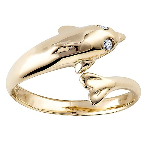 CZ Dolphin 14K Yellow Gold Adjustable Toe Ring