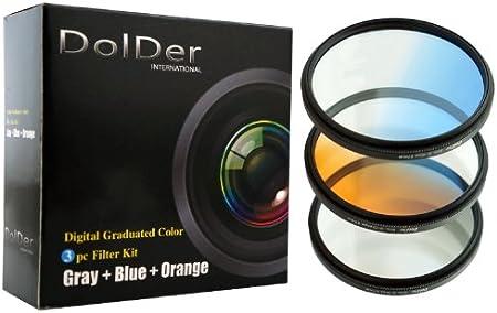 Blau, Grau, Orange Set mit Filtertasche DolDer 3er Verlaufsfilter f/ür Digitalkameras Filterdurchmesser 58mm