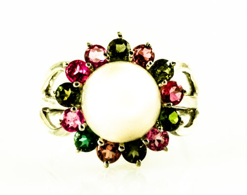 Pearl and Multistone (Ruby, Emerald, Citrine, Pink Tourmaline) Ring in Rhodium Plated Sterling Silver (8)