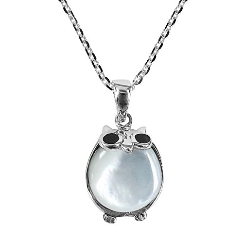 14mm White Shell Pearl Pendant (Cute and Chubby Night Owl & Mother of Pearl Shell .925 Sterling Silver Pendant Necklace)
