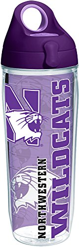(Tervis 1229691 Northwestern Wildcats College Pride Tumbler with Wrap and Purple Lid 24oz Water Bottle, Clear)