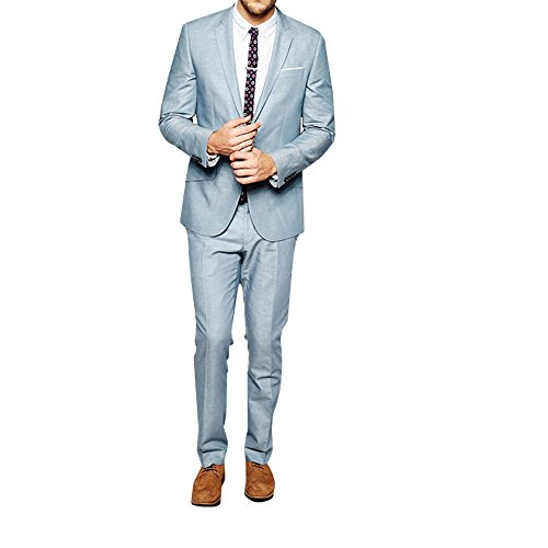 HBDesign Mens 2 Piece 1 Button Peak Lapel Slim Fit Baby Blue Suit 60R by HBDesign