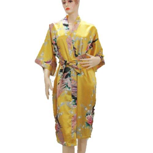 (100% Thai Silk Robe- Asian Peacock Design- Yellow Color)