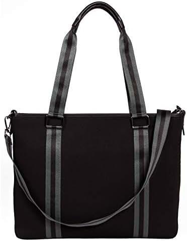 BFB Laptop Bag for Women - Designer Lightweight Custom Neoprene Laptop Shoulder Bag for Women - 13 Inch to 15 Inch Laptop Sleeve Carrying Case - Luxury Computer Messenger Work Bags for Women - Black