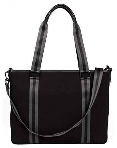 BFB Laptop Bag for Women - Designer Lightweight Custom Neoprene Laptop Shoulder Bag for Women - 13 Inch to 15 Inch Laptop Sleeve Carrying Case - Luxury Computer Messenger Work Bags for Women - Black ()