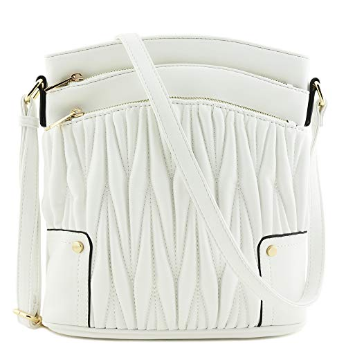 White Bag Leather - Triple Zip Pocket Large Crossbody Bag (Quilted White)