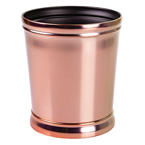 - mDesign Decorative Round Small Trash Can Wastebasket, Garbage Container Bin for Bathrooms, Powder Rooms, Kitchens, Home Offices - Durable Steel in Rose Gold Finish and Black Interior