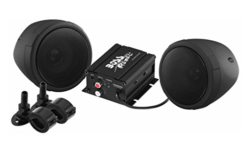 BOSS Audio MCBK420B Bluetooth, All-Terrain, Weatherproof Speaker And Amplifier Sound System, Two 3 Inch Speakers, Bluetooth Amplifier, Inline Volume Control, Ideal For Motorcycles/ATV and 12 Volt Applications