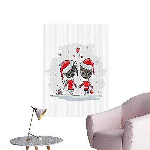 Wall Decals Soul Mates Love Couples with Santa Costumes mily Romance Winter Night Environmental Protection Vinyl,24