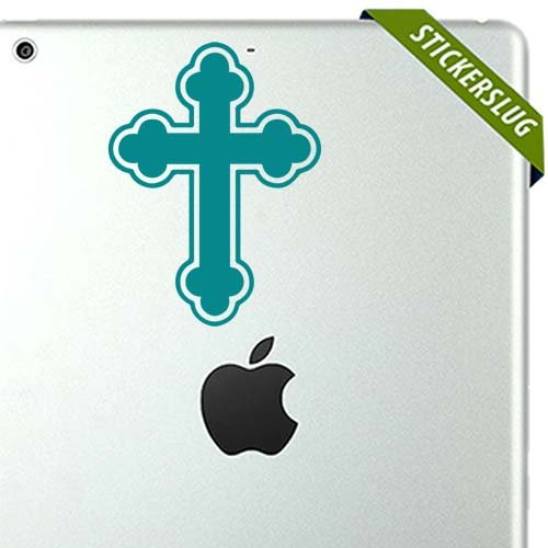Cross Decal Sticker (turquoise, 5 inch) removable for indoor wall home 11664