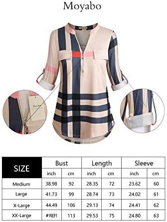 Moyabo Women's 3/4 Cuffed Sleeve Zipped V Neck Plaid Tunic Shirt Blouses