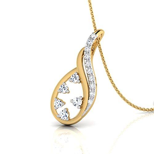 18K Or Blanc 0.11CT TW Round-cut-diamond (IJ | SI) Pendentif
