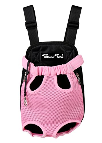 (Whizzotech Pet Carrier Backpack, Adjustable Pet Front Cat Dog Carrier Backpack Travel Bag, Legs Out, Easy-Fit for Traveling Hiking Camping PB03 (S, Pink))